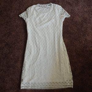 Isaac mizrahi live white layered lace midi dress